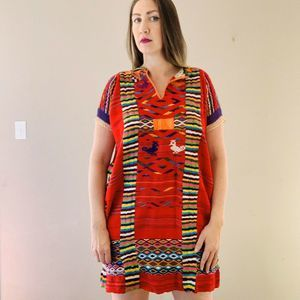 Vintage Oaxacan Huipil Tunic Dress Hand Woven